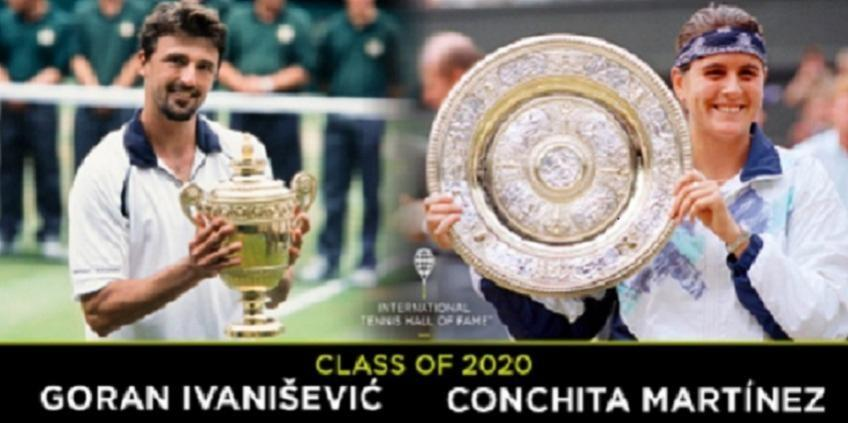 Goran Ivanisevic et Conchita Martinez dans le 'Hall of Fame'